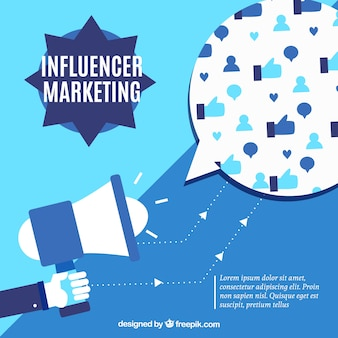 Blue influencer marketing vector