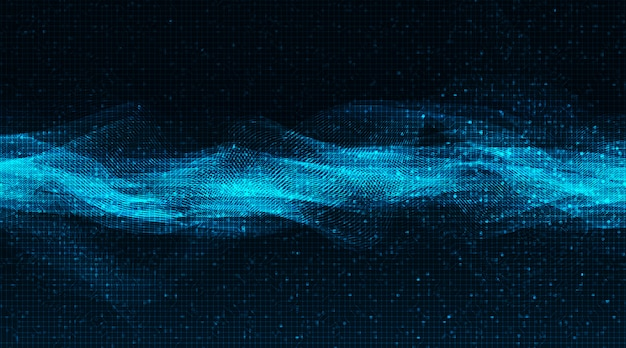 Blue light digital sound wave laag en hoog richterschaal op technische achtergrond