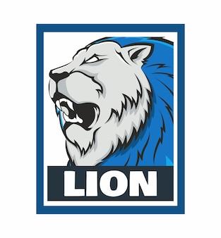 Blue lion brullen ontwerp frame illustratie geïsoleerd