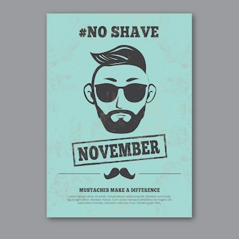 Blue movember poster in vintage stijl