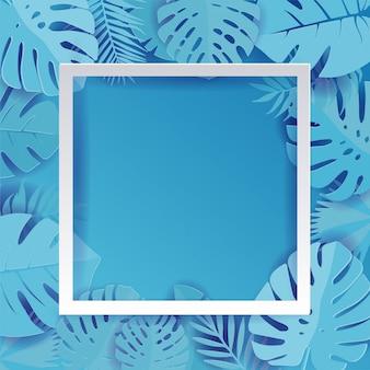 Blue palm leaf vector achtergrond illustratie in papier gesneden stijl. exotische tropische jungle regenwoud heldere cyaan palmboom en monstera verlaat grenskader