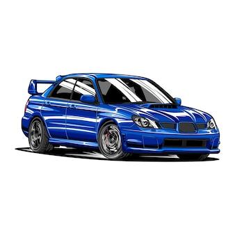 Blue rally car hand getrokken