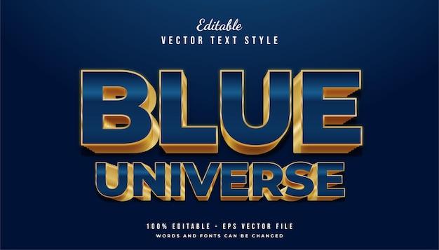 Blue universe-tekst met blauwe en gouden stijl en glanzende effecten