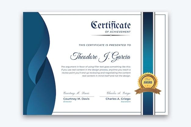 Blue wave prestatie certificaat sjabloon vector premium vector