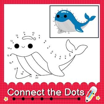 Blue whale kinderpuzzel verbind de stippen werkblad voor kinderen die getallen 1 tot 20 tellen