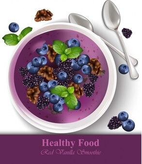 Blueberry banaan vanille smoothie realistisch. gezonde voedselsjablonen