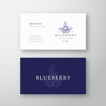 Blueberry banketbakkerij abstract elegant logo en visitekaartje