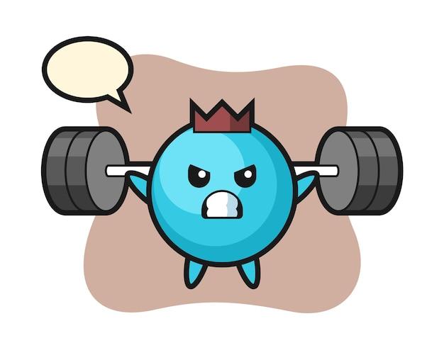 Blueberry mascotte cartoon met een barbell