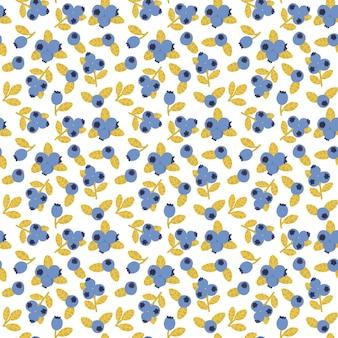 Blueberry naadloze patroon blauwe bessen zomer print handgetekende voedsel stof print