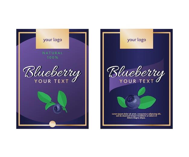 Blueberry-sjabloon voor voedselverpakking.