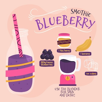 Blueberry smoothie recept illustratie