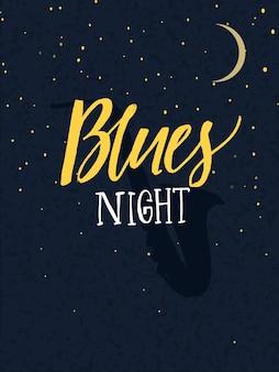 Blues nacht poster met kalligrafie tekst en saxofoon silhouet op de donkere achtergrond van de nachtelijke hemel met maan.