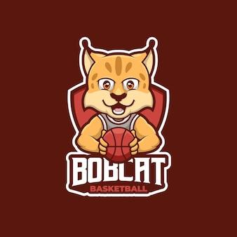Bob cat creative sport logo basketbal cartoon mascot logo design