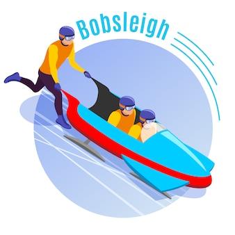 Bobsleeën met team van atleten die bobsleeën verspreiden voor isometrische afdalingen