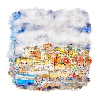 Boccadasse italië aquarel schets hand getrokken illustratie