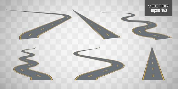 Bochtige gebogen weg of snelweg met markeringen.