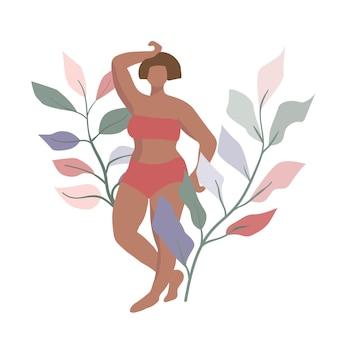 Bochtige vrouwelijke figuur eenvoudige minimale platte ontwerpillustratie met plantenbladeren als achtergrond
