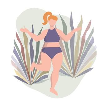 Bochtige vrouwenfiguur eenvoudig minimalistisch ontwerp met plantenbladeren als achtergrond
