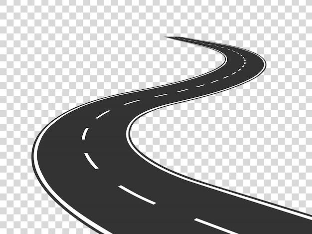 Bochtige weg. het verkeer van de reis gebogen snelweg. weg naar horizon in perspectief. windend asfalt leeg lijn geïsoleerd concept