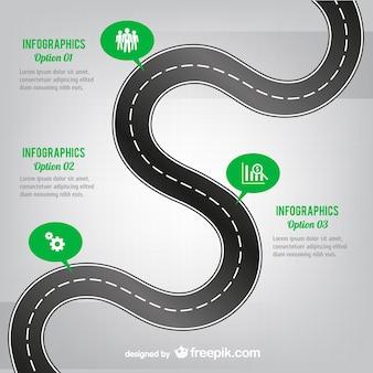 Bochtige weg infografie