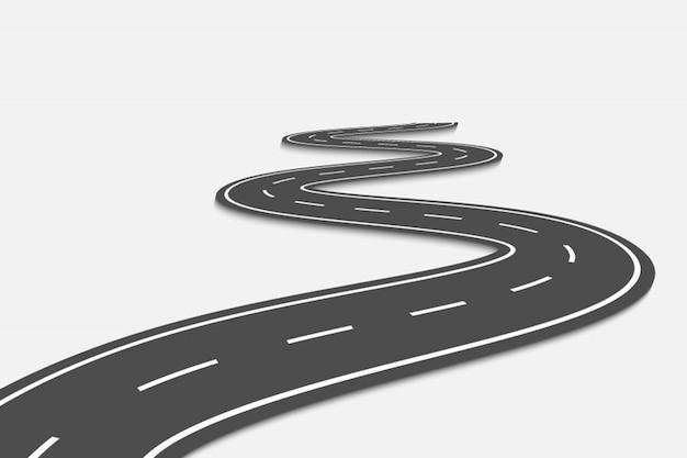 Bochtige weg op transparant