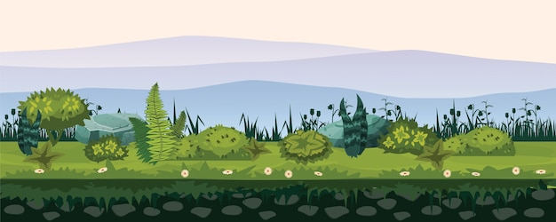 Bodem en land met verschillende soorten vegetatie, gras, looflandschap, voor de ontwikkeling van ui-spellen, toepassingen
