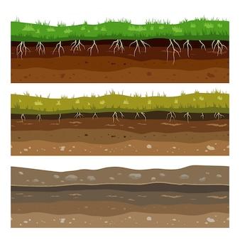 Bodemgrondlagen. naadloze campo grond vuil klei oppervlaktetextuur met stenen en gras.