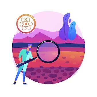 Bodemkunde abstract concept illustratie. bodembiologie en -chemie, milieukunde, onderzoek naar natuurlijke hulpbronnen, vruchtbaarheidseigenschappen, landbeheer, pedologie.