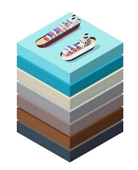Bodemlagen zeeoppervlak dwarsdoorsnede schip geologische en ondergrondse bodemlagen onder natuurlandschap isometrisch deel van de uitgestrekte organische, zand-, kleilagen van het land