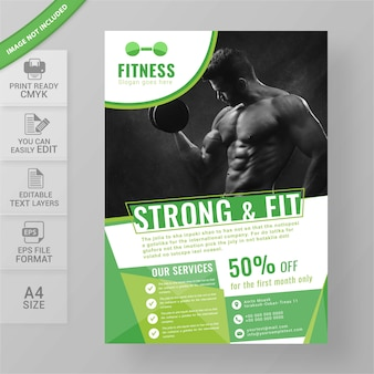 Body fitness gym flyer ontwerp