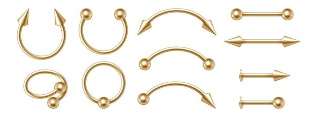 Body piercing gouden sieraden set, verschillende gouden accessoires. moderne doorboren oorbellen 3d collectie ontwerp geïsoleerd op een witte achtergrond. realistische vectorillustratie