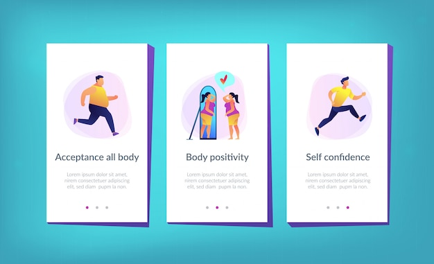 Body positieve app interface sjabloon.
