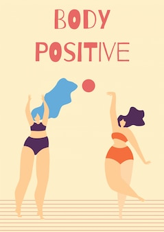 Body positive motivate woman cartoon-kaart met tekst