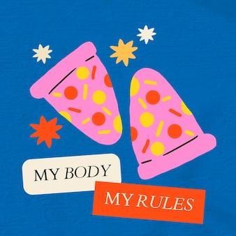 Body positivity bewerkbare sjabloon psd met mijn lichaam mijn regels tekst