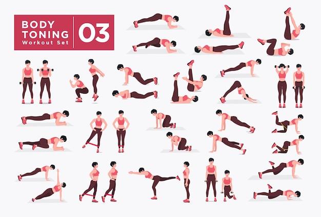 Body toning workout set vrouwen die fitness- en yoga-oefeningen doen