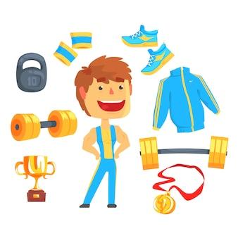 Bodybuilder, gespierde man ingesteld voor. sportartikelen voor bodybuilding. kleurrijke cartoon gedetailleerde illustraties
