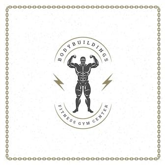 Bodybuilder man silhouet logo