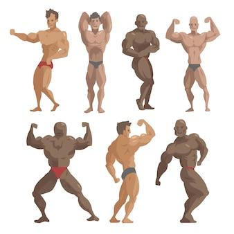 Bodybuilder sportman poseren set