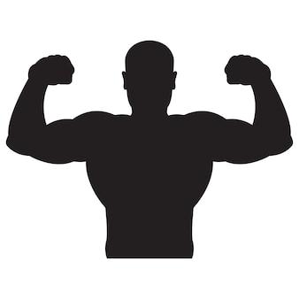 Bodybuilder sterke man zwart silhouet