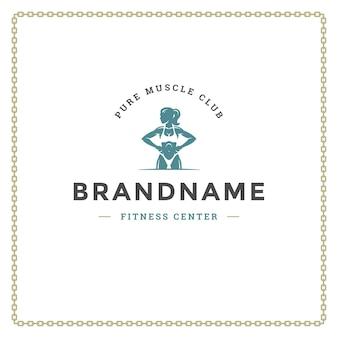 Bodybuilder vrouw logo of badge illustratie vrouwelijke bodybuilding symbool silhouet