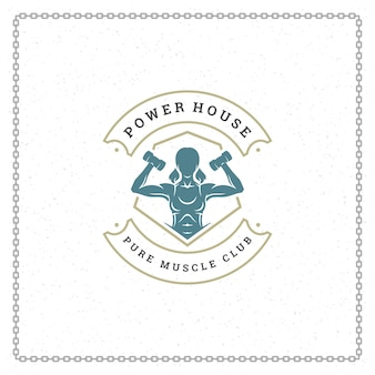 Bodybuilder vrouw logo of badge illustratie