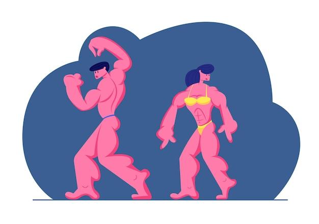 Bodybuilders mannelijke en vrouwelijke personages poseren op het podium