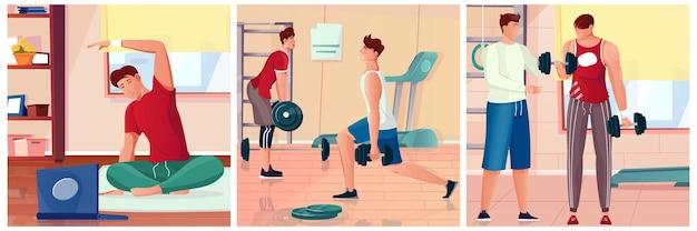 Bodybuilding-composities in plat ontwerp met mensen die zich uitstrekken en trainen