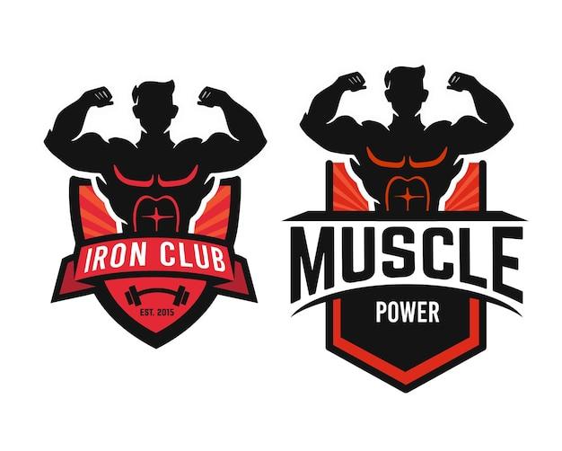 Bodybuilding embleem fitness gym logo ontwerp.