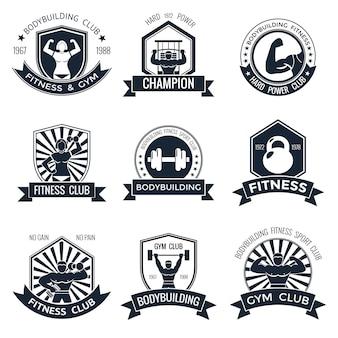 Bodybuilding emblemen set