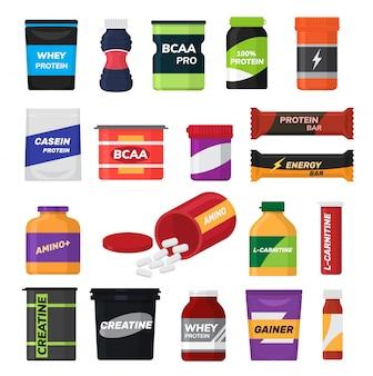 Bodybuilding fitness voeding vector sport voedingssupplement met proteïne voor bodybuilders illustratie set geïsoleerd op een witte ruimte