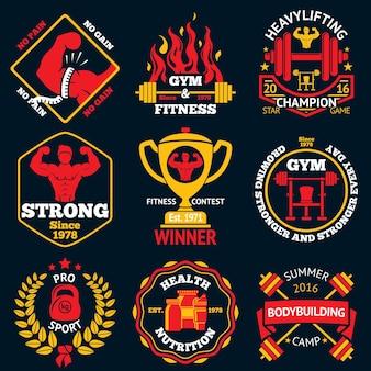 Bodybuilding heldere labels ingesteld