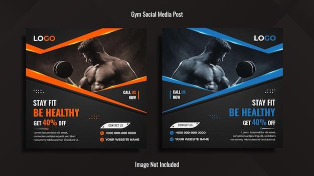 Bodybuilding social media design met creatieve vormen