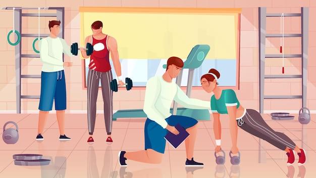 Bodybuilding trainer platte compositie met indoor gym interieur karakters van trainers en atleten met gymnastiekapparatuur illustratie