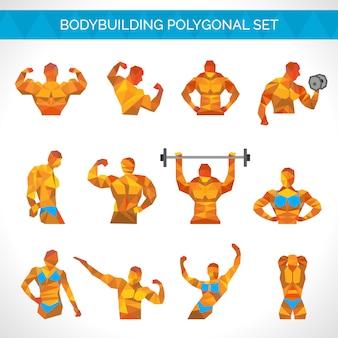 Bodybuilding veelhoekige icons set